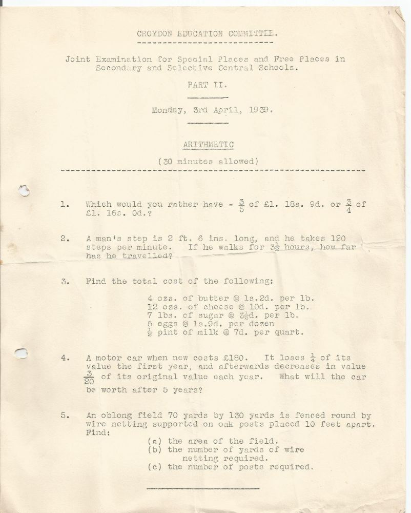 free places exam arithmetic 3.4.1939 looks like a trial run