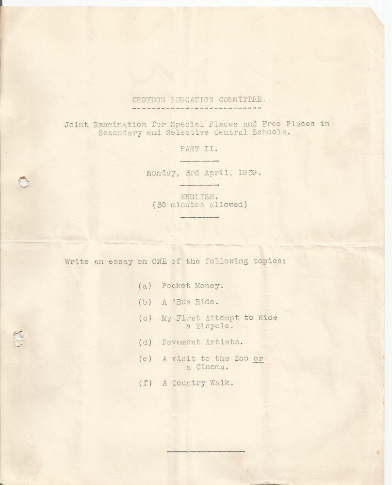 free places exam english 3.4.1939 looks like a trial run