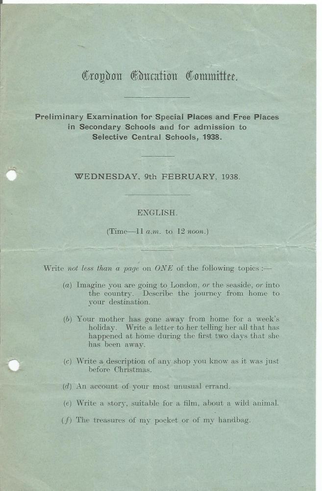prelim exam for free place 9.2.1938 english