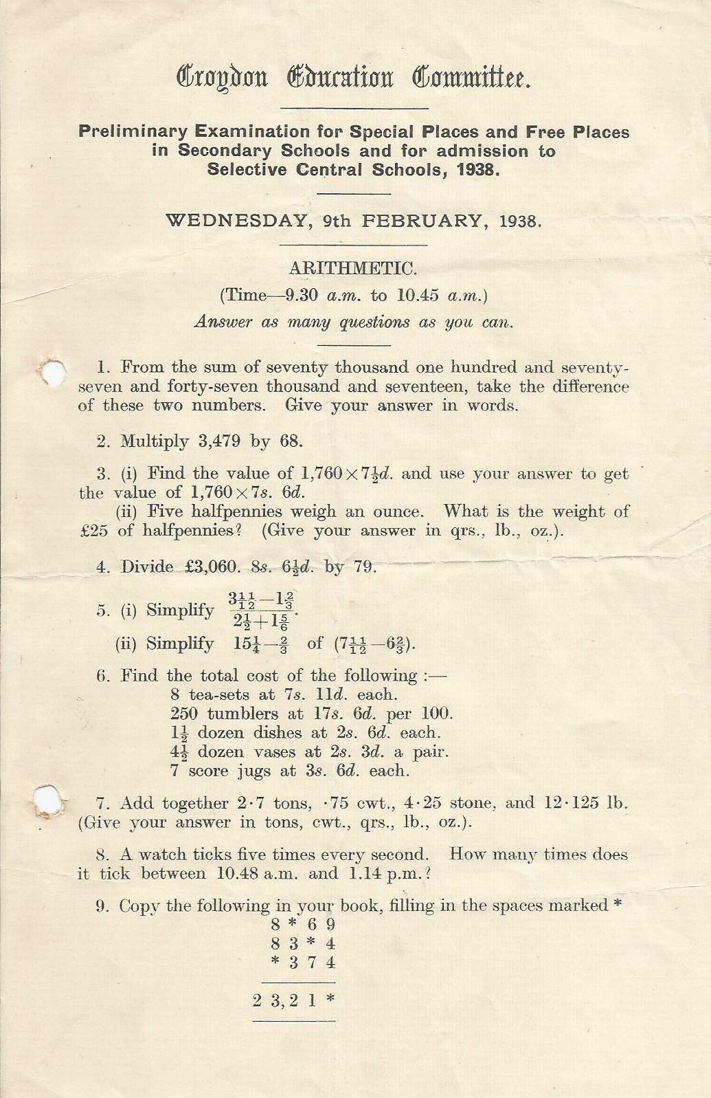 prelim entrance exam arithmetic 9.2.1938