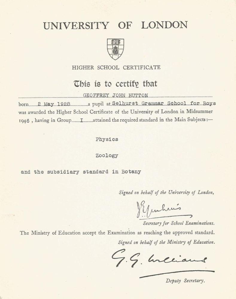 highers physics zoology and botany 1946