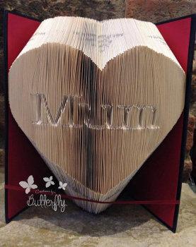 Book Folding Pattern 'Mum' Inverted in Heart (383 Folds)