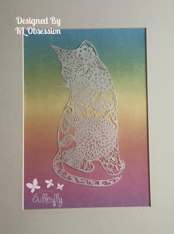 'Sitting Cat' Hand cut Paper Cut