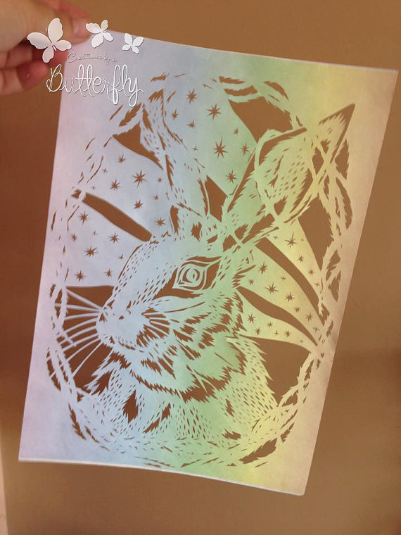 'Rainbow Hare' Hand cut Paper Cut