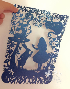 Alice and White Rabbit Paper Cut