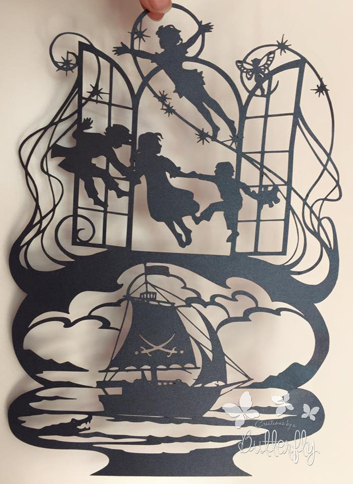 Peter Pan - Hand finished Paper Cut