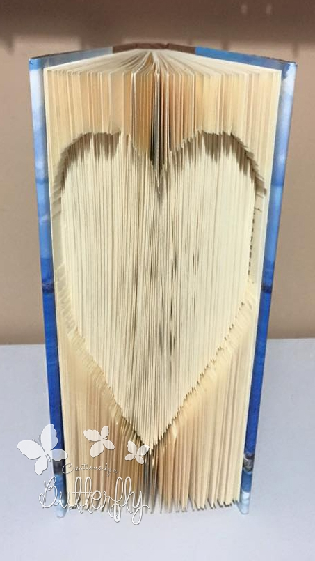 Book Folding Pattern Cut & Fold Heart with Instructions (114 Folds)