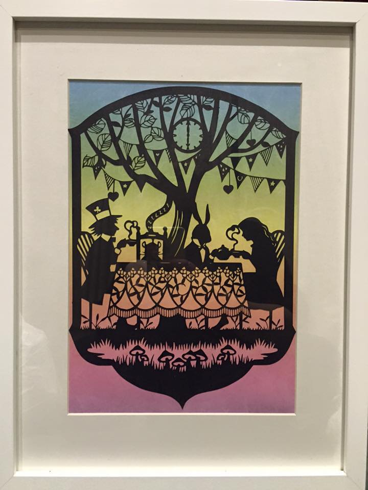 Alice Tea party - Hand finished Paper Cut