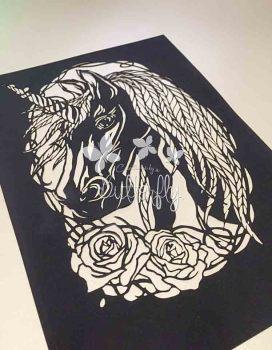 Obsidian Unicorn Paper Cut