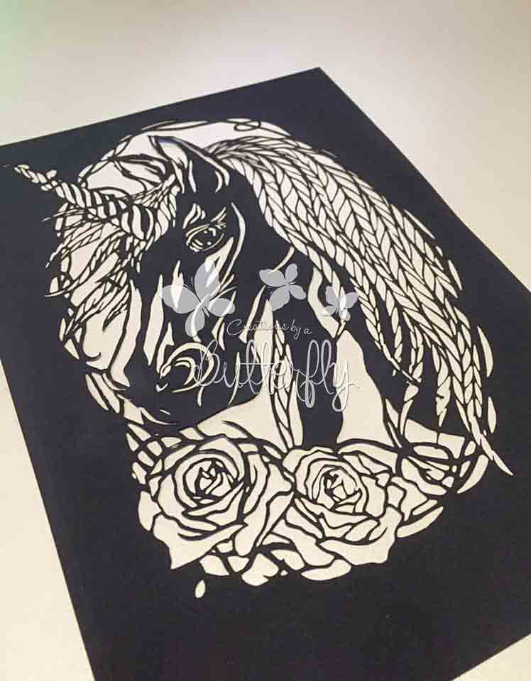 Obsidian Unicorn Paper Cut