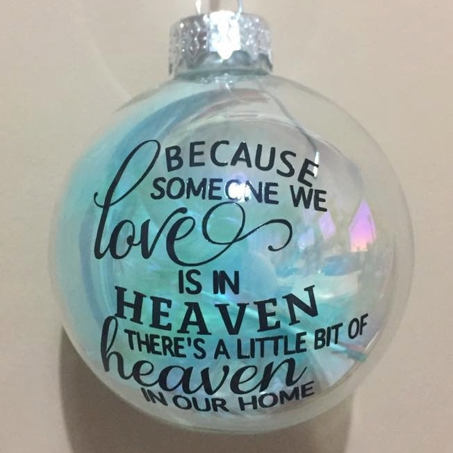 Because someone we Love - 6cm Iridescent Feather Filled Round Glass Bauble