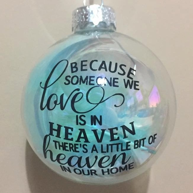 'Because someone we Love' Iridescent Glass Feather Filled Glass Bauble