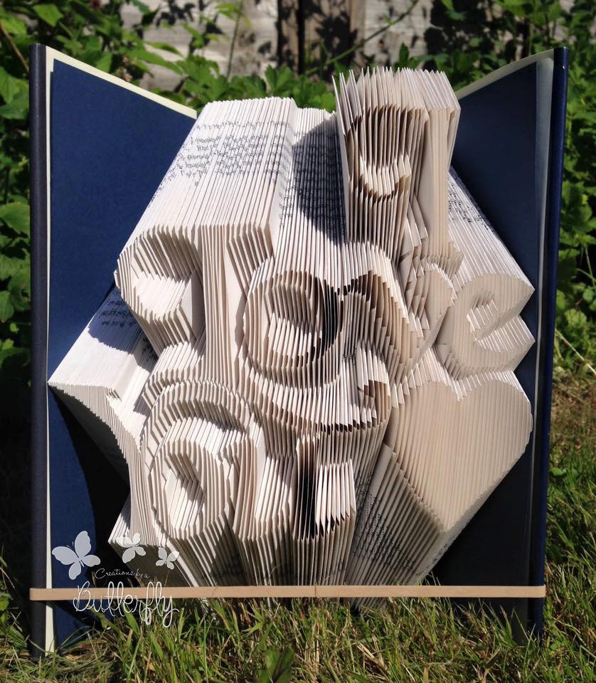 Book Folding Pattern 'I Love You' with Heart *3 Line NO cut* (465 Folds)