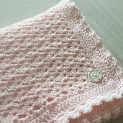 Crochet Baby Blanket Pink - 39 x 36 Inches