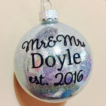 Mr & Mrs 1st Christmas 6cm Glass Bauble