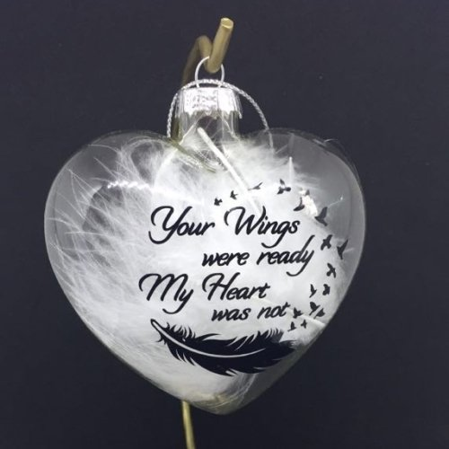 Your Wings were ready, My Heart was not - 9cm Heart shape feather filled ba