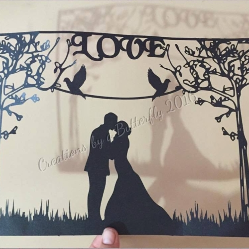 Wedding Couple Paper Cut - hand finished paper cut