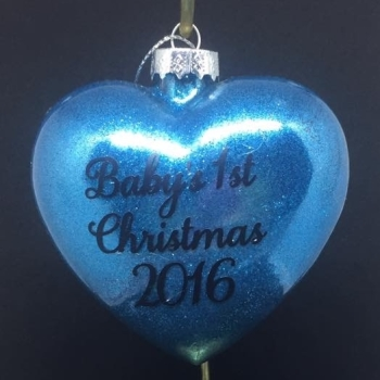 Baby's 1st Christmas - Heart Shape Bauble - Glitter Filled