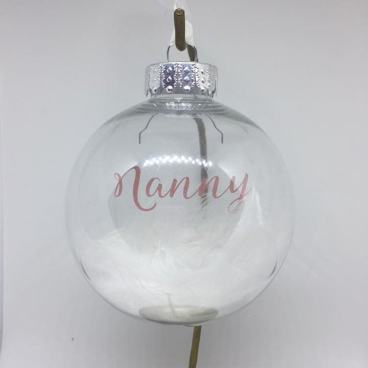 Nanny, Feather Filled Bauble - 6.5cm shatterproof bauble