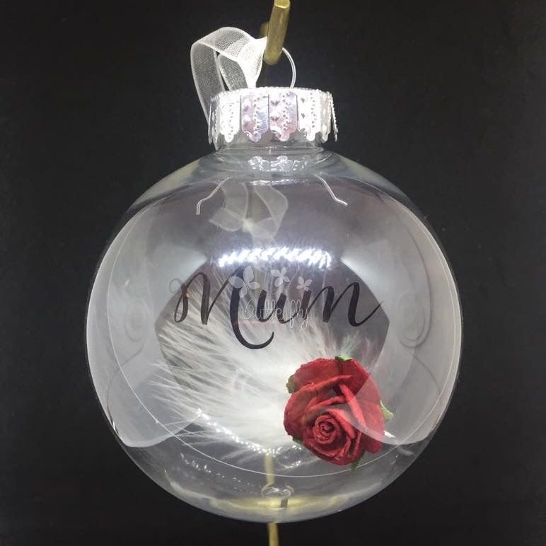 Mum, Rose with Feather Filled Bauble - 9cm shatterproof bauble
