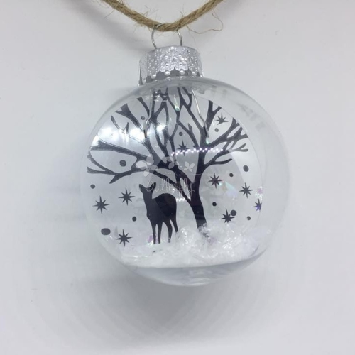 Deer in the Snow - 6.5cm shatterproof bauble