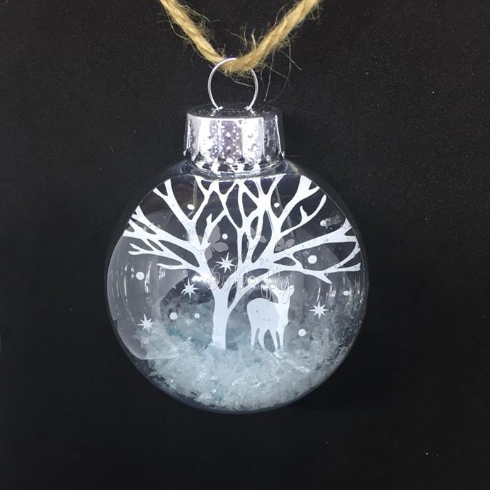 Deer in the Snow (White) - 6.5cm shatterproof bauble