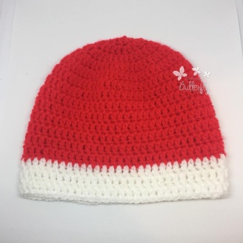 Newborn Red and White Christmas Hat
