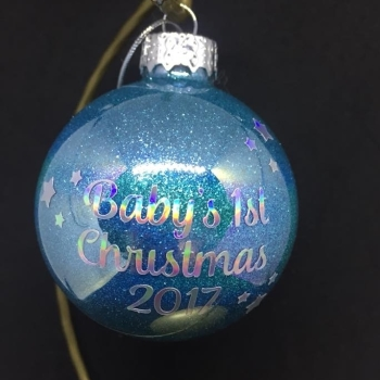 Babys 1st Christmas Personalised 6cm Glass Bauble
