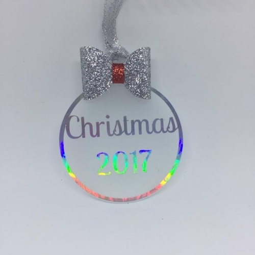 Christmas 2017 - 6cm frosted Acrylic bauble