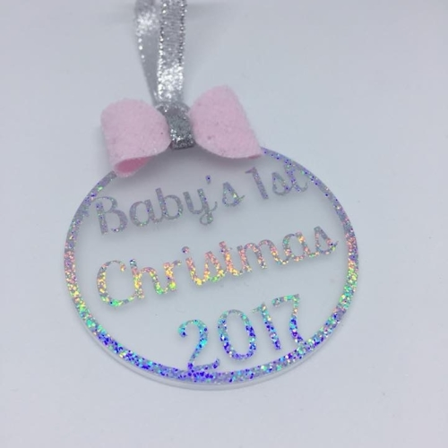 Baby's 1st Christmas 2017 - 6cm frosted Acrylic bauble