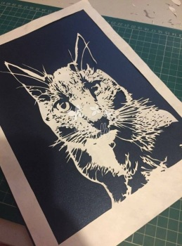 'Watching Cat' Hand cut Paper Cut