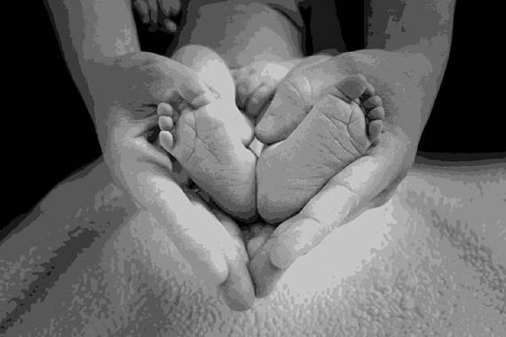 Layered Paper Cutting Template - 'Baby Feet in Hands' 10 layers