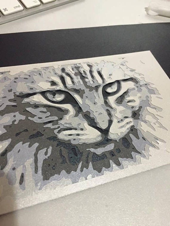 Layered Paper Cutting Template - Cat 8 layers