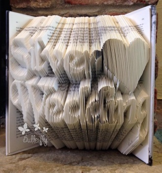Book Sculpture 'Silver Wedding' with Heart