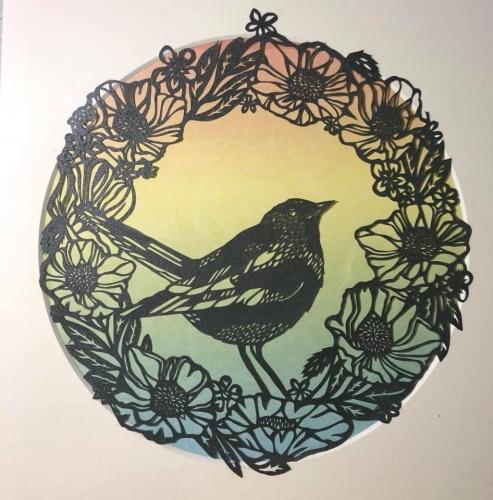 Bird in Wreath Paper Cut
