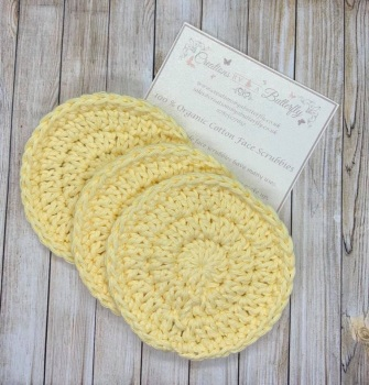 3 Organic Cotton Face Scrubbies - Yellow