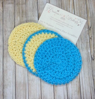 3 Organic Cotton Face Scrubbies - Blue & Yellow