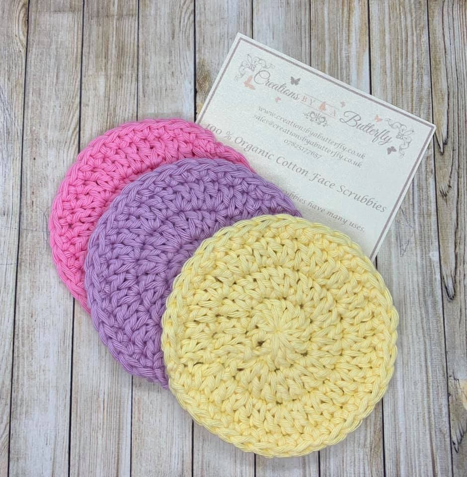 3 Organic Cotton Face Scrubbies - Mixed