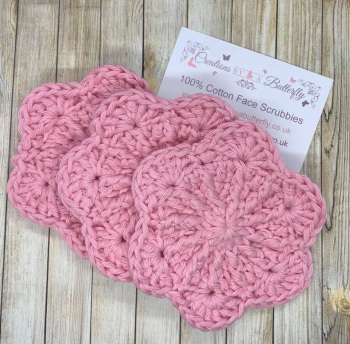 Set of 3 Flower Face Scrubbies - Light Pink