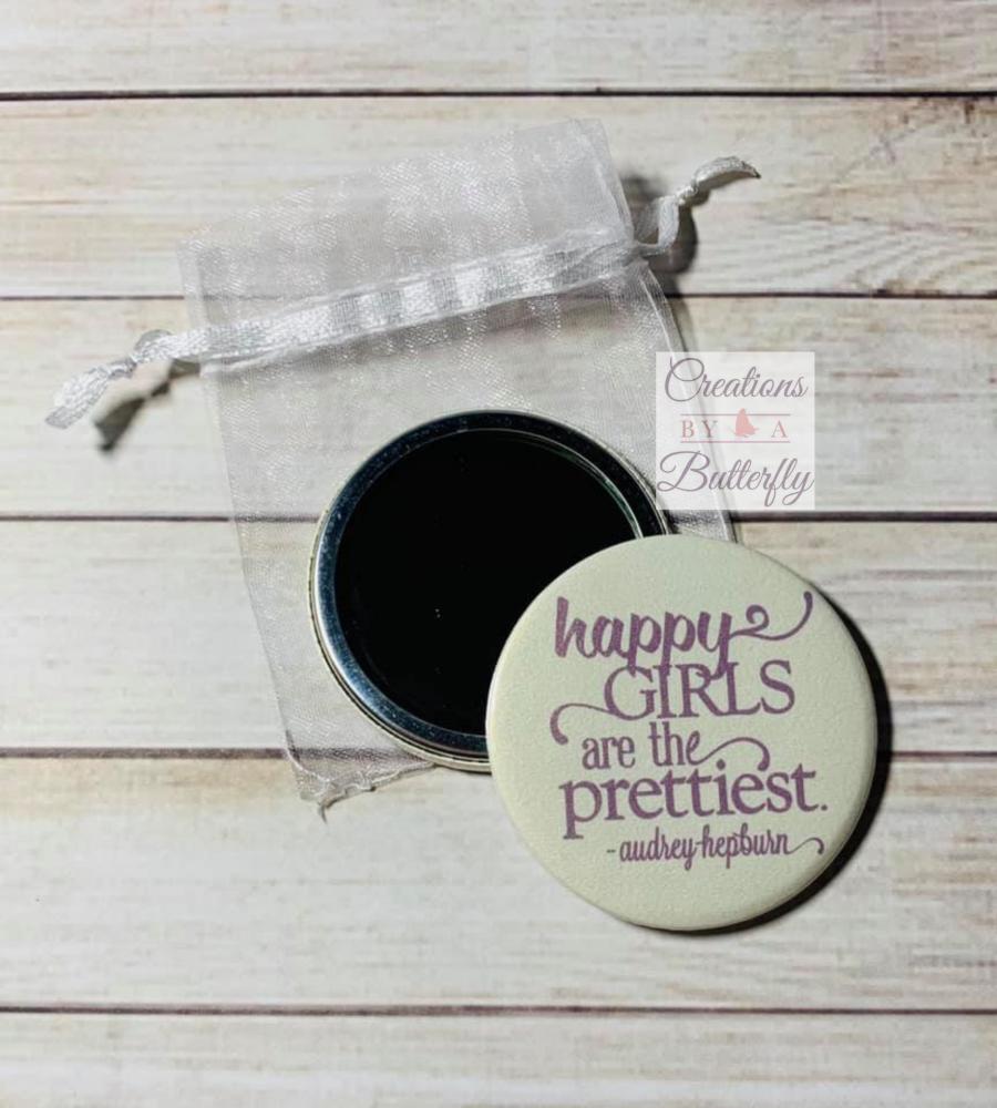 'Happy Girls' Pocket Mirror - 5.7cm