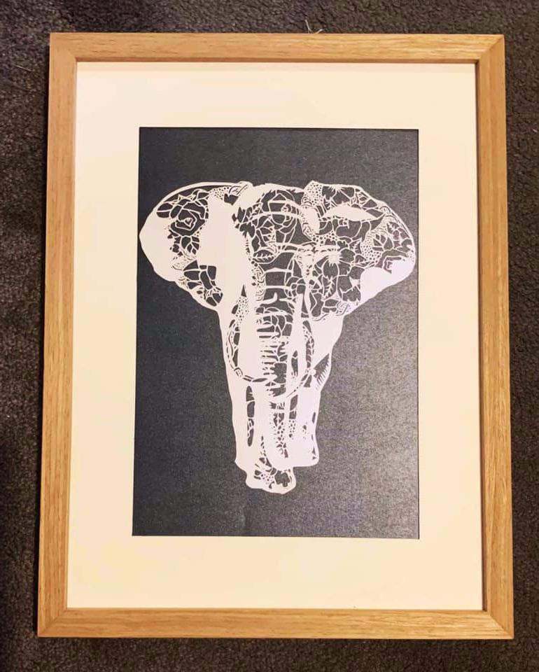 'Elephant' Hand cut Paper Cut