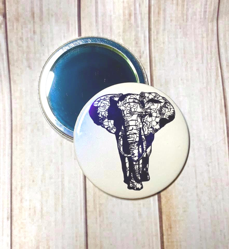 Foiled Elephant - Pocket Mirror - 5.7cm