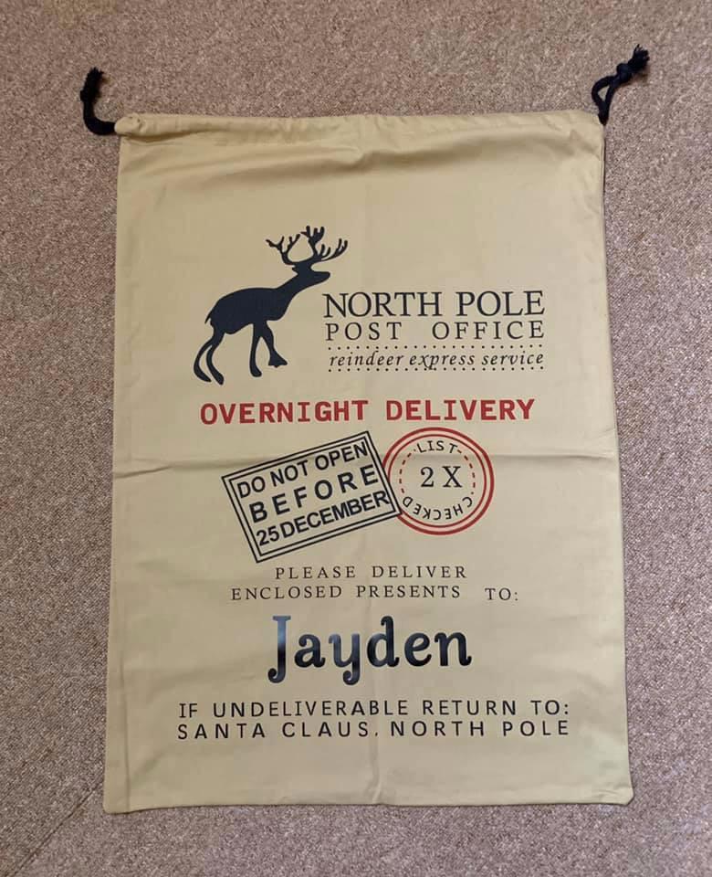North Pole Christmas Sack ( Dark cream)