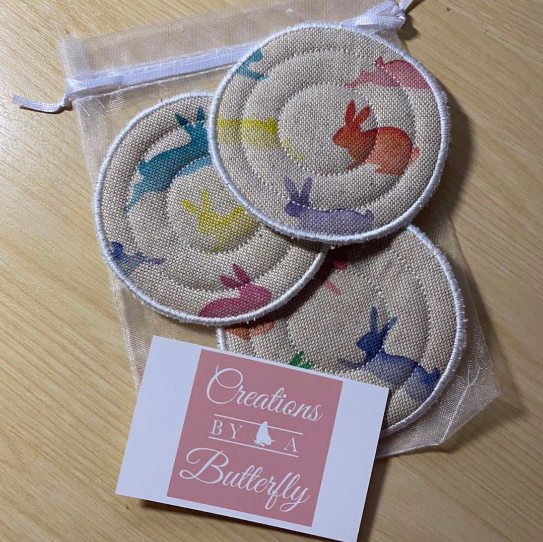 Rainbow Bunnies Cotton and Towelling Face Scrubbies