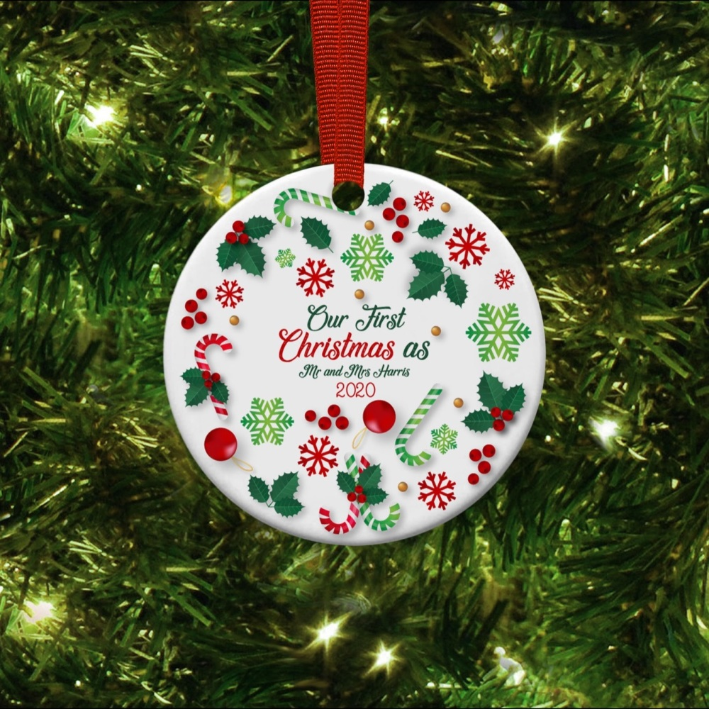 Our first Christmas as Mr & Mrs  Ceramic Ornament