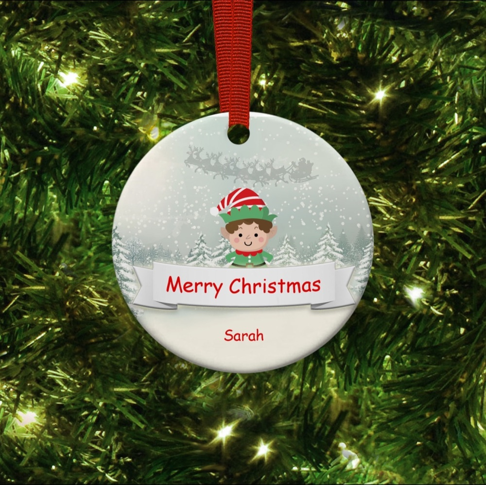 Lock Down Elf 2020 with - Ceramic Ornament