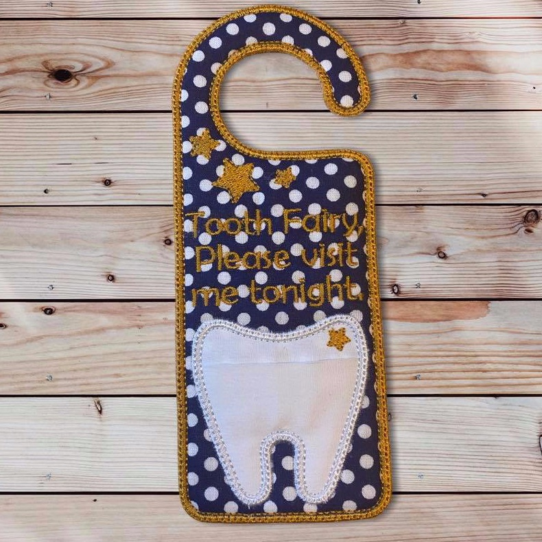Navy Blue Polkadot Tooth Fairy Door Hanger
