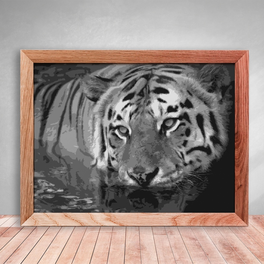 Layered Paper Cutting Template - Tiger - 8 layers