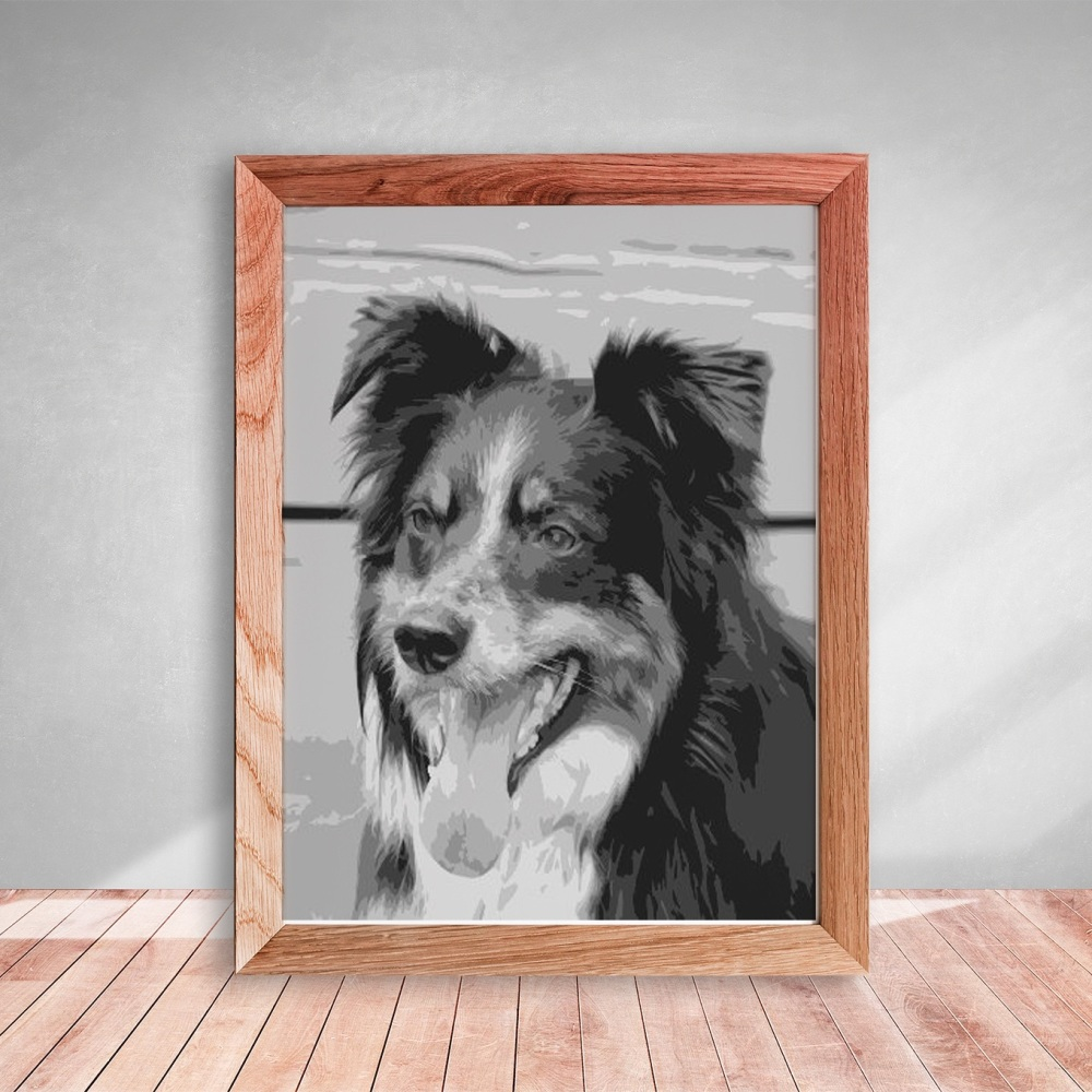 Layered Paper Cutting Template - Border Collie 8 layers