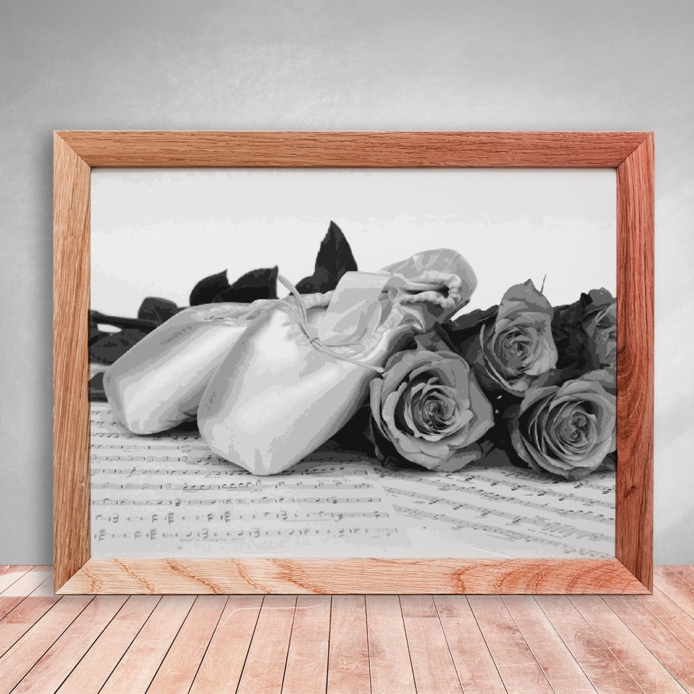 Layered Paper Cutting Template - 'Pointe shoes with roses' 12 layers